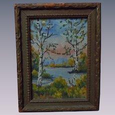 All Original mid century Landscape Framed Painting Miniature