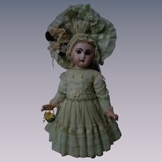 Wonderful Dress w/ Petticoat Hat Basket for antique german french bisque doll