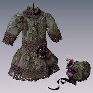 Gorgeous Dress Hat for antique Jumeau Steiner Eden Bru cabinet sized doll