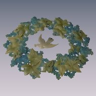 Rare antique celluloid Wreath Carrier Pigeon and Forget me nots