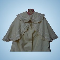 All Original Antique soft flannel Christening Cape fit for german or french bisque doll