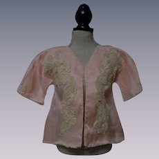 Old 1920's Salmon Silk Lined  Jacket for french bebe doll