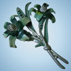 Gorgeous Antique Pewter Floral  Brooch