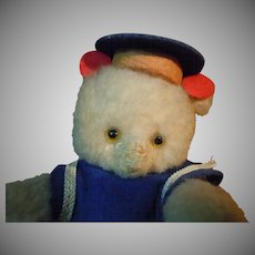 Lovely Old tiny Bear Sailor Mariner Glass Eyes Movable head arms and legs