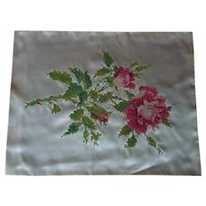 Antique Cross Stitch Needlepoint Roses Silk Embroidered Panel Superb