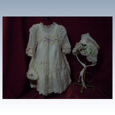 Exquisite Organza Dress Taffeta Slip Bonnet Purse
