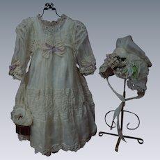 Exquisite Organza Dress Taffeta Slip Bonnet Purse for french bebe Jumeau Steiner Eden Bru doll