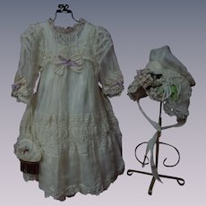 Exquisite Organza Dress Taffeta Slip Bonnet Purse