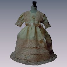 Charming Peach Salmon Taffeta Dress Slip Bonnet for huge bisque doll