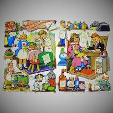 Beautiful  Uncut Vintage mid century Die-cuts Sheet  Printed in England