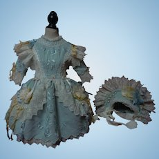 Wonderful Embroidered Blue flannel Dress w/ Petticoat and Bonnet