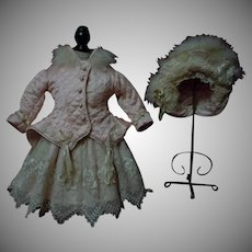 Superb Rose Silk Couturier Costume 3 pcs Dress w/ Petticoat Jacket Hat for french Bebe Jumeau Steiner Bru doll