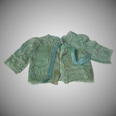 Lovely green aquamarine pure silk  Sweater for Bleuette tiny french bebe doll