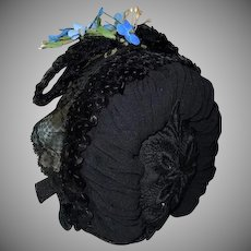 Crepe sequins forget me nots Hat for antique french bebe cabinet sized doll