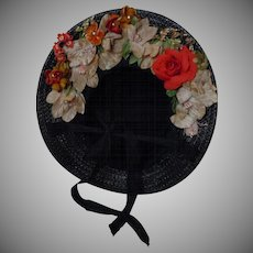 Beautiful soft straw Hat wild flowers for antique german bisque french bebe huge doll