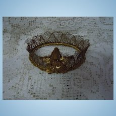 Exquisite Couture Crown for Wax doll or cabinet sized french bebe Jumeau
