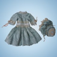 Marvelous aquamarine pure silk Dress and Bonnet for french bebe Jumeau doll