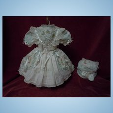 "Wonderful Batiste Dress and Beret for  18"" french bebe Jumeau doll"