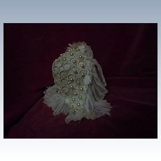 Charming macrame headdress Cap w/ Pearls or doll hat