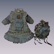 Superb Pure silk tiny french Bebe Couturier Dress w/ Petticoat and Hat