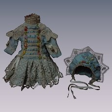 Wonderful Turquoise Pure silk tiny french Bebe Couturier Dress w/ Petticoat and Hat