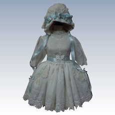 Exquisite Classic white work Batiste Dress w/ Petticoat and Bonnet