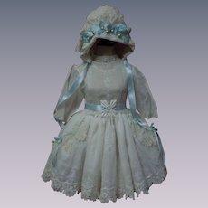 Exquisite Classic white work Batiste Dress w/ Petticoat and Bonnet