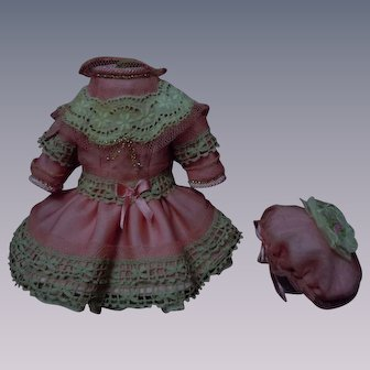 Beautiful Rose Tiny French Bebe Dress and Cap