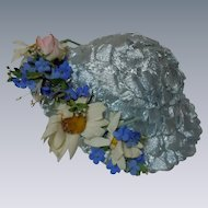 Wonderful blue aqua soft straw Hat w/ rose daisies and forget me nots