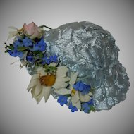 Wonderful blue aqua soft straw Hat w/ rose daisies and forget me nots