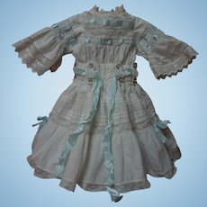 "Wonderful White work Batiste Dress w/ Petticoat and Hat for 21"" french bebe Jumeau doll"