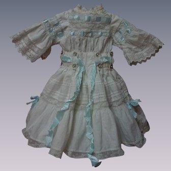 "Wonderful White work Batiste Dress w/ Petticoat for 19"" to 21"" french bebe Jumeau doll"