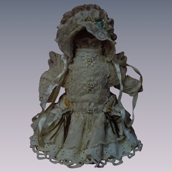 Wonderful Pure silk tiny french Bebe Dress w/ Petticoat and Hat
