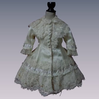 Gorgeous satin silk Couturier Dress for french bebe Jumeau Steiner doll