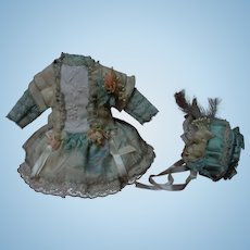 Charming Pure silk tiny french Bebe Dress w/ Petticoat Jacket and Hat