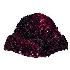 Gorgeous Vintage Knit Metallic Fuchsia Burgundy Sequins Beret Hat