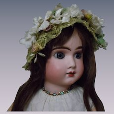 Beautiful green soft straw hat w/ millinery flowers for huge doll
