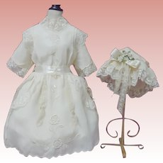Beautiful Embroidered taffeta Dress and Cap for huge german french bisque doll