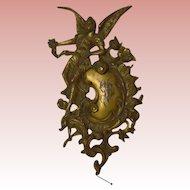 Antique Gilt Ormolu Bronze Relief Fairy Monogram Ornament Plaque