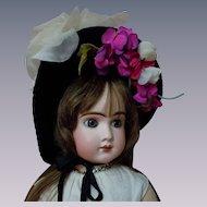 Antique Velvet hat w/ millinery flowers for huge doll