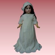 All Original Antique Embroidered crepe Gown Slip Bonnet for huge german french bisque doll