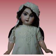 All Original Antique embroidered Silk Taffeta Gown Bonnet Crepe Slip for huge doll