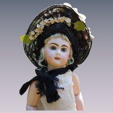Superb Antique 19th century  Straw Hat for antique french Bebe Jumeau Steiner Eden doll