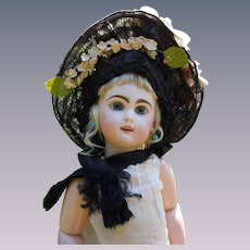 Superb Antique 19th century  Straw Hat for antique french Bebe Jumeau Steiner Eden doll
