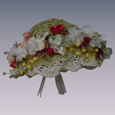 Beautiful soft straw hat w/ flowers for huge doll