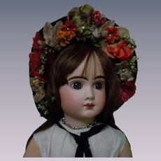 Charming Velvet Hat wild flowers for antique german bisque french bebe huge doll