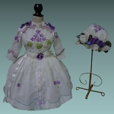 Embroidered Violets Muslin Dress w/ Petticoat  and Cap for german french bisque doll