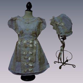 Antique Lilac Batiste Dress Slip Bonnet for french bebe Jumeau Steiner doll