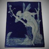 Antique Limoges Pate sur Pate Blue Enamel Porcelain Plaque Signed Marcel Chaufriasse
