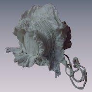All Original Antique 19th Century Calash Capote Corded Frilled Bonnet
